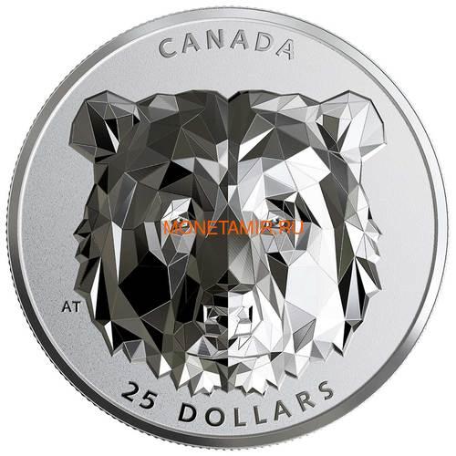 Канада 25 долларов 2019 Медведь Гризли Многогранная Голова (Canada 25$ 2019 Grizzly Bear Multifaceted Animal Head 1 oz Silver Coin).Арт.65 (фото)