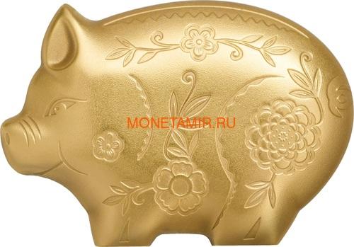 Монголия 1000 тугриков 2019 Веселая Свинья Фигурка (Mongolia 1000 Togrog 2019 Gilded Jolly Pig Silver Coin 1oz).Арт.000697957128/65 (фото)