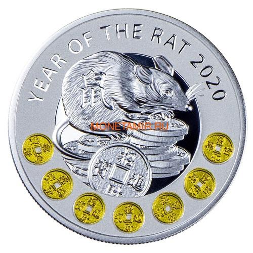 Ниуэ 1 доллар 2020 Год Крысы Лунный Календарь (Niue 1$ 2020 Year of the Rat Lunar Proof).Арт.65 (фото)