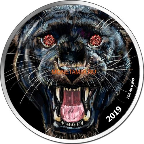 Камерун 1000 франков 2019 Черная Пантера Бриллиант (Cameroon 1000 Francs 2019 Diamond Black Panther 1Oz Silver Coin).Арт.Е85 (фото)