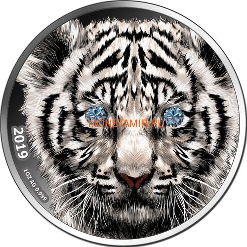 Камерун 1000 франков 2019 Тигр Бриллиант (Cameroon 1000 Francs 2019 Diamond Black Panther 1Oz Silver Coin).Арт.65 (фото)