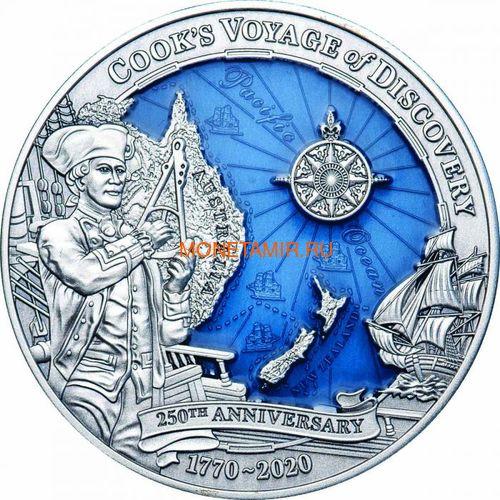 Соломоновы Острова 10 долларов 2020 Капитан Кук 250 лет Первому Путешествию (Solomon Isl 10$ 2020 Captain Cook Voyage of Discovery 250th Anniversary High Relief Enamel 3 Oz Silver Antique Coin).Арт.65 (фото)