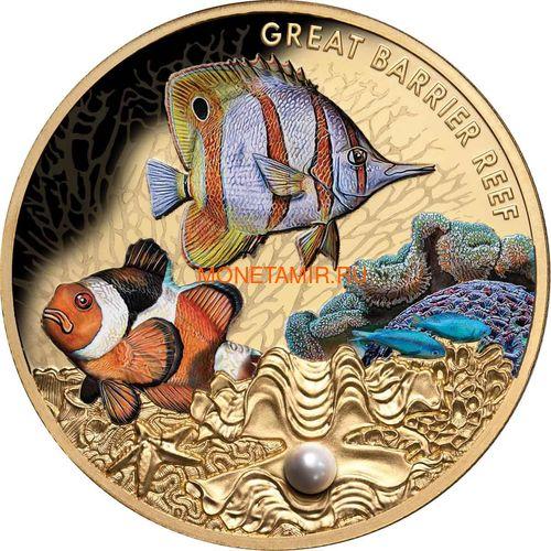 Ниуэ 100 долларов 2020 Морская Жемчужина Рыбы Большой Барьерный Риф Австралии (Niue 100$ 2020 Australia's Great Barrier Reef Saltwater Pearl 1oz Gold Proof Coin).Арт.65 (фото)
