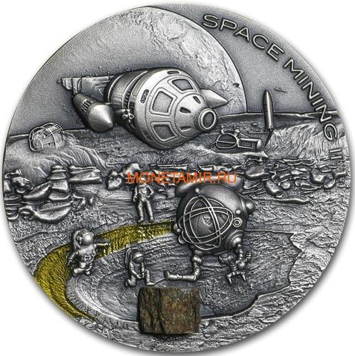 Ниуэ 1 доллар 2019 Космическая Добывающая Станция II Метеорит (Niue 1$ 2019 Space Mining Station II 1Oz Silver Coin).Арт.000712957851/65 (фото)