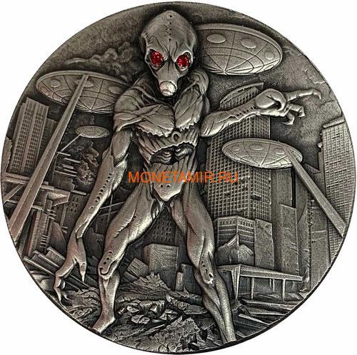 Чад 10000 франков 2018 Вторжение Инопланетян НЛО Космос (Chad 10000 Francs 2018 Alien Invasion Swarovski UFO 2oz Silver Coin).Арт.001069457845/65 (фото)