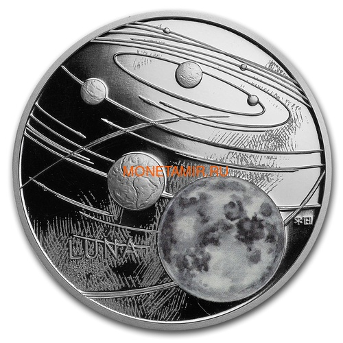 Ниуэ 1 доллар 2019 Солнечная Система Луна (Niue 1$ 2019 Solar System Moon 1Oz Silver Coin).Арт.67 (фото)