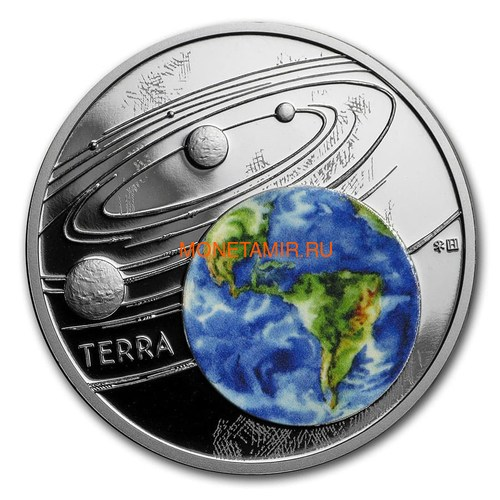 Ниуэ 1 доллар 2019 Солнечная Система Земля (Niue 1$ 2019 Solar System Earth 1Oz Silver Coin).Арт.67 (фото)