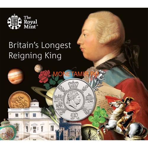 Великобритания 5 фунтов 2020 Король Георг III (GB 5£ 2020 A Celebration of the Reign of George III Brilliant Uncirculated Coin) Блистер.Арт.65 (фото)