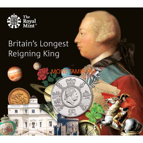 Великобритания 5 фунтов 2020 Король Георг III (GB 5£ 2020 A Celebration of the Reign of George III Brilliant Uncirculated Coin) Блистер.Арт.65 (фото)
