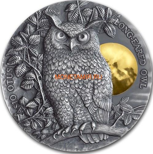 Ниуэ 5 долларов 2019 Ушастая Сова (Niue 5$ 2019 Long Eared Owl Asio Otus 2 oz Silver Coin).Арт.65 (фото)
