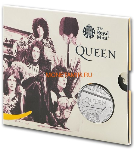 Великобритания 5 фунтов 2020 Куин Легенды Музыки (GB 5£ 2020 Queen Music Legends Brilliant Uncirculated Coin) Блистер.Арт.65 (фото)