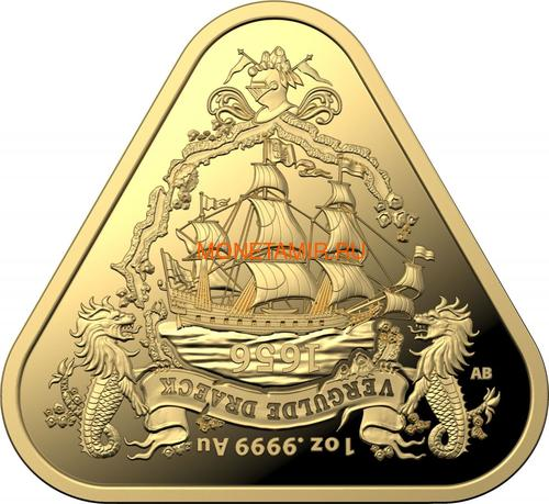 Австралия 100 долларов 2020 Корабль Вергюлде Драк Австралийские Кораблекрушения (Australia 100$ 2020 Vergulde Draeck Australian Shipwrecks 1 oz Gold Triangular Investment Coin).Арт.65 (фото)