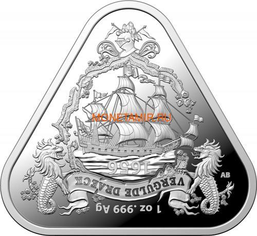 Австралия 1 доллар 2020 Корабль Вергюлде Драк Австралийские Кораблекрушения (Australia 1$ 2020 Vergulde Draeck Australian Shipwrecks 1 oz Silver Triangular Investment Coin).Арт.65 (фото)