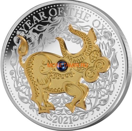 Фиджи 10 долларов 2021 Год Быка Лунный Календарь Жемчужина (Fiji 10$ 2021 Lunar Ox Pearl 1 Oz Silver Coin).Арт.65 (фото)