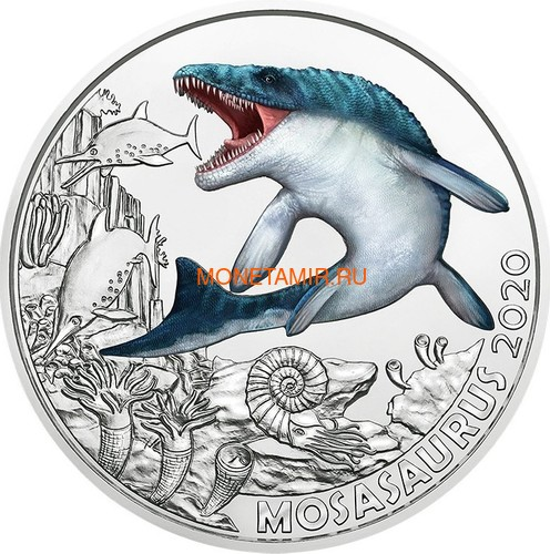 Австрия 3 евро 2020 Мозазавр серия Суперзавры (Mosasaurus The Spinosaurus Austria 3 euro 2020).Арт.65 (фото)
