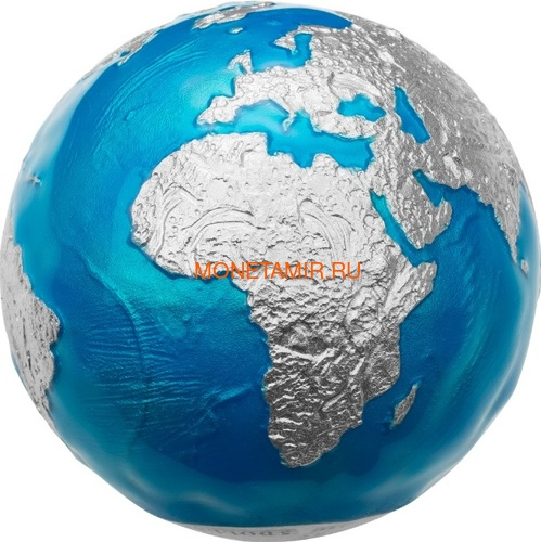 Барбадос 5 долларов 2020 Голубой Мрамор Планета Земля Космос Шар (Barbados 5$ 2020 Blue Marble Planet Earth 3oz Silver Coin Spherical).Арт.94 (фото)