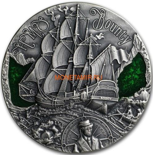 Камерун 2000 франков 2019 Корабль Баунти Кристиан Флетчер серия Золотой Век Мореплавания (Cameroon 2000 Francs 2019 HMS Bounty Golden Age of Sail 2 oz Silver Coins).Арт.Е85 (фото)