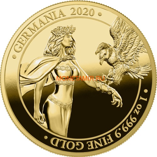 Германия 100 марок 2020 Германия Орел (Germania 100 Mark 2020 Gemania 1oz Gold Coin Proof).Арт.27022021001500E/75 (фото)