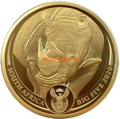 Южная Африка 50 рандов 2020 Носорог Большая Африканская Пятерка (South Africa 50 Rand 2020 Rhino Big Five 1oz Gold Coin).Арт.75 (фото)