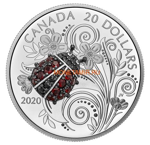 Канада 20 долларов 2020 Божья Коровка серия Насекомые из Драгоценных Камней (Canada 20$ 2020 Ladybug Bejeweled Bugs Silver Coin).Арт.Е85 (фото)
