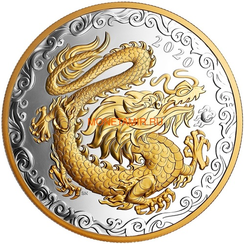 Канада 125 долларов 2020 Счастливый Дракон (Canada 125$ 2020 Lucky Dragon 0,5 Kilogram Silver Coin).Арт.88 (фото)