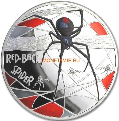 Ниуэ 10 долларов 2020 Красноспинный Паук Всемирная Денежная Ярмарка (Niue 2020 $10 Deadly & Dangerous Red-Back Spider 5oz Silver Proof Coin World Money Fair).Арт.88 (фото)
