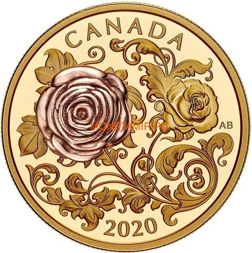 Канада 200 долларов 2020 Роза Королева Елизавета (Canada 200$ 2020 The Queen Elizabeth Rose 1 oz Gold Coin).Арт.85 (фото)