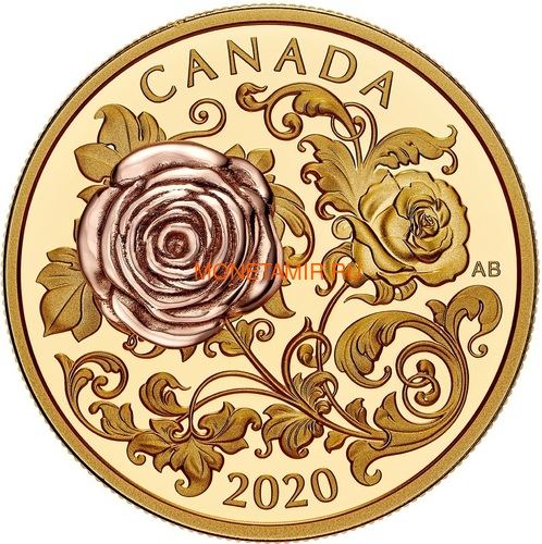 Канада 200 долларов 2020 Роза Королева Елизавета (Canada 200$ 2020 The Queen Elizabeth Rose 1 oz Gold Coin).Арт.85 (фото)