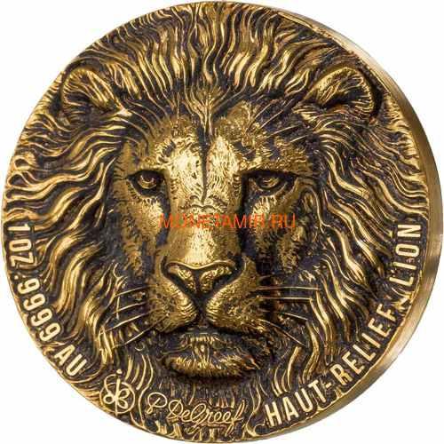 Берег Слоновой Кости Кот-д'Ивуар 100 франков 2020 Лев Большая Африканская Пятерка (Ivory Coast 100FCFA 2020 Greef Lion Big Five 1oz Gold Coin).Арт.82 (фото)