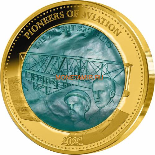Соломоновы Острова 100 долларов 2021 Пионеры Авиации Уилбер и Орвилл Райт Перламутр (Solomon Isl 100$ 2021 Pioneers of Aviation Mother of Pearl 5oz Gold Coin Proof).Арт.90 (фото)