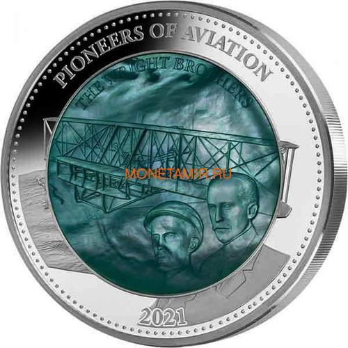 Соломоновы Острова 25 долларов 2021 Пионеры Авиации Уилбер и Орвилл Райт Перламутр (Solomon Isl 25$ 2021 Pioneers of Aviation Mother of Pearl 5oz Silver Coin Proof).Арт.90 (фото)