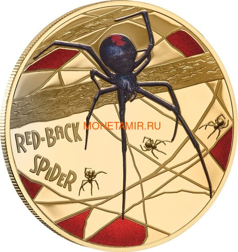 Ниуэ 500 долларов 2020 Красноспинный Паук (Niue 2020 $500 Red-Back Spider Coloured 150th Anniversary 5oz Gold Proof Coin).Арт.90 (фото)