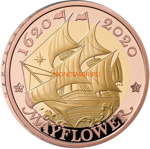Великобритания 2 фунта 2020 Мейфлауэр Корабль Биметалл (GB 2£ 2020 Mayflower Gold Proof Coin).Арт.90 (фото)