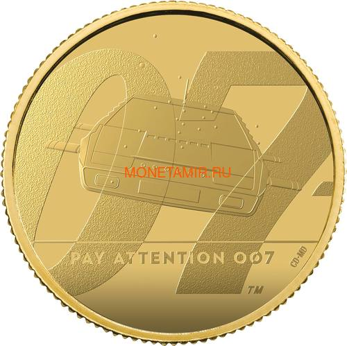 Великобритания 25 фунтов 2020 Обратите Внимание 007 Джеймс Бонд (GB 25£ 2020 Pay Attention 007 Quarter-Ounce Gold Proof Coin).Арт.90 (фото)