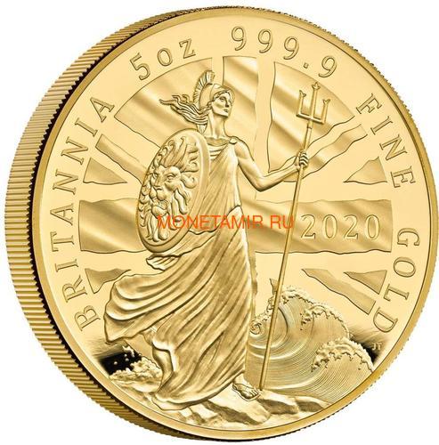 Великобритания 500 фунтов 2020 Британия (GB 500£ 2020 Britannia 5oz Gold Proof Coin).Арт.90 (фото)