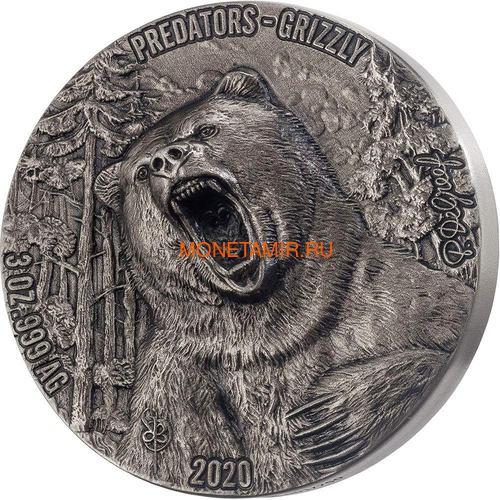 Берег Слоновой Кости Кот-д'Ивуар 5000 франков 2020 Гризли Медведь Хищники (Ivory Coast 5000FCFA 2020 Grizzly Predators 3oz Antique Finish Silver Coin).Арт.92 (фото)