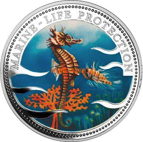 Палау 20 долларов 1995 Морской Конек Защита Морской Жизни (Palau 1995 $20 Sea Horse Marine Life Protection 5Oz Silver Coin).Арт.92 (фото)