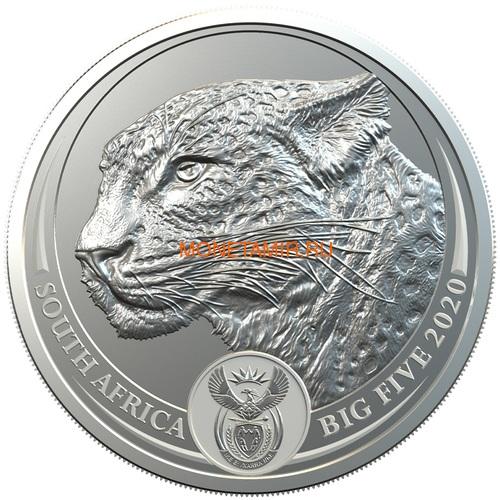 Южная Африка 5 рандов 2020 Леопард Большая Африканская Пятерка (South Africa 5R 2020 Leopard Big Five 1oz Silver Coin) Блистер.Арт.92 (фото)