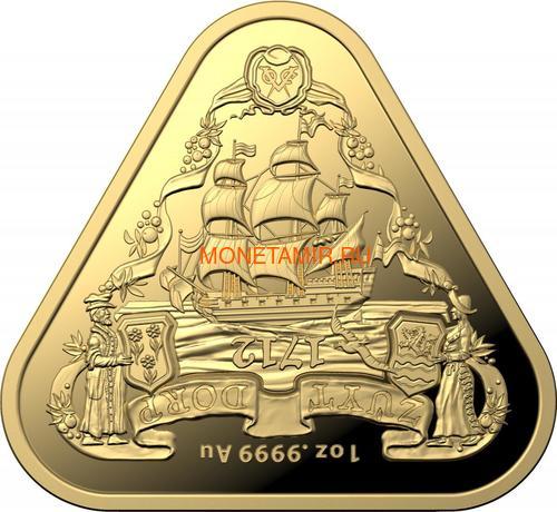 Австралия 100 долларов 2020 Корабль Зюйддорп Австралийские Кораблекрушения (Australia 100$ 2020 Zuytdorp Australian Shipwrecks 1oz Gold Triangular Investment Coin).Арт.92 (фото)