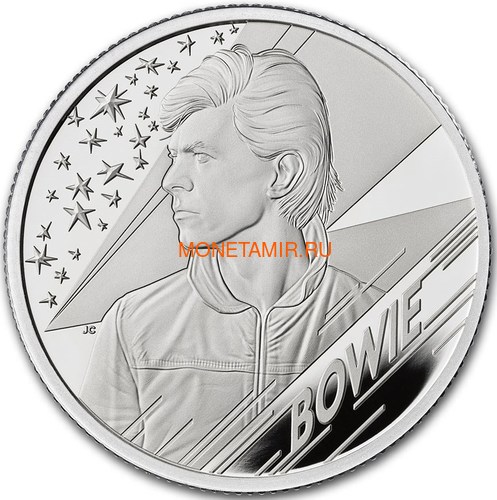 Великобритания 1 фунт 2020 Дэвид Боуи Легенды Музыки ( GB 1£ 2020 David Bowie Music Legends Half oz Silver Proof Coin ).Арт.92E (фото)
