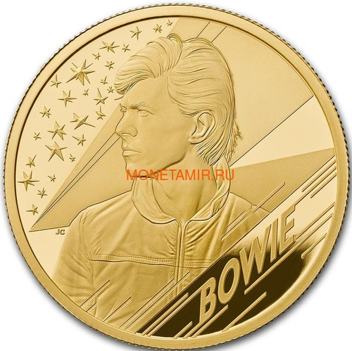 Великобритания 100 фунтов 2020 Дэвид Боуи Легенды Музыки ( GB 100£ 2020 David Bowie Music Legends 1oz Gold Proof Coin ).Арт.92E (фото)