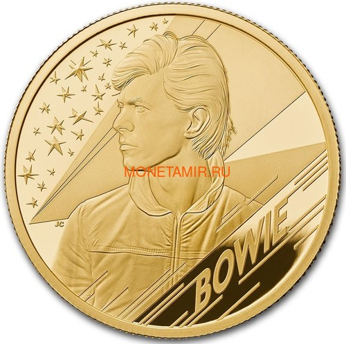 Великобритания 25 фунтов 2020 Дэвид Боуи Легенды Музыки ( GB 25£ 2020 David Bowie Music Legends Quarter-Ounce Gold Proof Coin ).Арт.92E (фото)