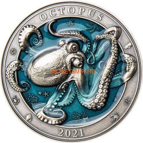 Барбадос 5 долларов 2021 Осьминог Подводный Мир ( Barbados 5$ 2021 Octopus Underwater World 3oz Silver Coin ).Арт.92 (фото)