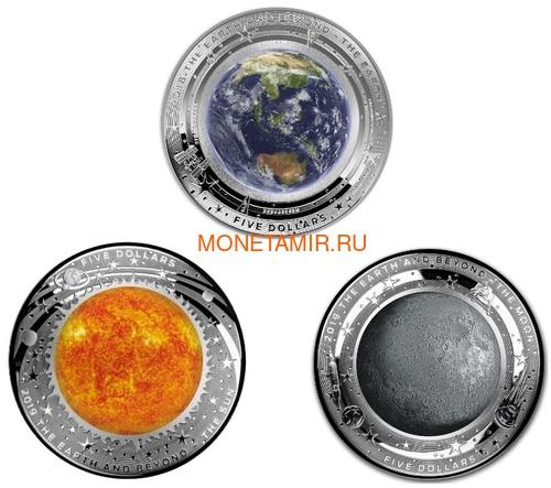 Австралия 5 долларов 2018/19 Земля Луна Солнце серия За Пределами Земли Набор Три Монеты Выпуклая (Australia 2018/19 $5 Earth Moon Sun Beyond the Earth Silv Proof Domed Coin).Арт.92 (фото)