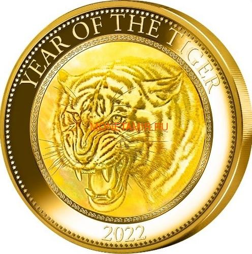 Острова Кука 200 долларов 2022 Год Тигра Лунный Календарь Перламутр ( Cook Isl 2022 200$ Year of the Tiger Mother of Pearl 5oz Gold Coin Proof ).Арт.92 (фото)