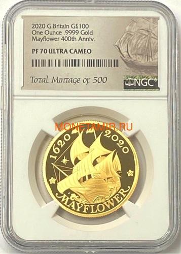 Великобритания 100 фунтов 2020 Мэйфлауэр Корабль Слаб ( GB 100£ 2020 Mayflower 1oz Gold Proof Coin NGC PR70 UC ).Арт.92E (фото)