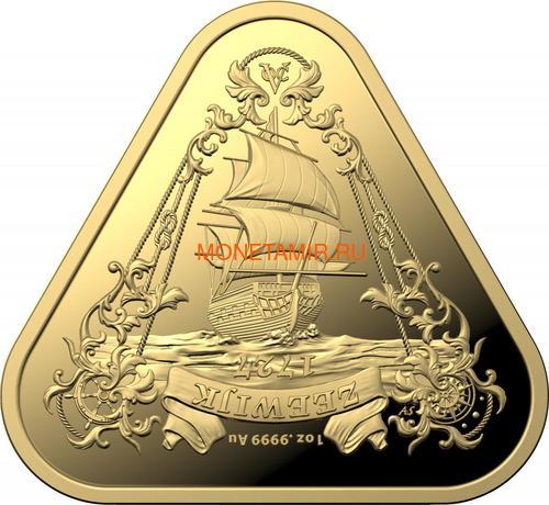 Австралия 100 долларов 2021 Корабль Зевейк Австралийские Кораблекрушения ( Australia 100$ 2021 Zeewijk Australian Shipwrecks 1oz Gold Triangular Investment Coin ).Арт.92E (фото)
