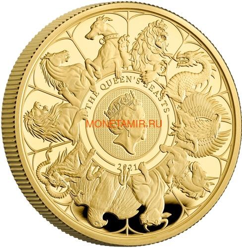 Великобритания 100 фунтов 2021 Звери Королевы (GB 100£ 2021 Queen's Beast 1oz Gold Proof Coin).Арт.92 (фото)