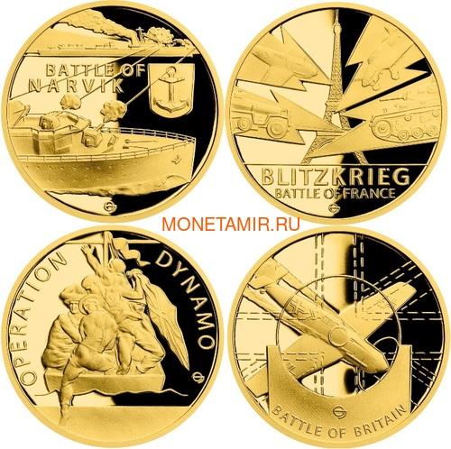 Ниуэ 4х25 долларов 2020 Великая Отечественная Война 1940 год Набор Золотых Монет Нарвик Франция Операция Динамо Британия Корабль Самолет Танк (Niue 4х25$ 2020 Set Gold Coins War 1940 Narvik France Operation Dynamo Britain).Арт.K5G/92 (фото)