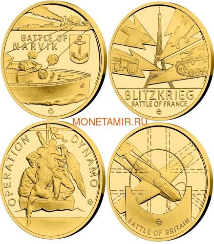 Ниуэ 4х5 долларов 2020 Великая Отечественная Война 1940 год Набор Золотых Монет Нарвик Франция Операция Динамо Британия Корабль Самолет Танк (Niue 4х5$ 2020 Set Gold Coins War 1940 Narvik France Operation Dynamo Britain).Арт.K1,46G/92 (фото)